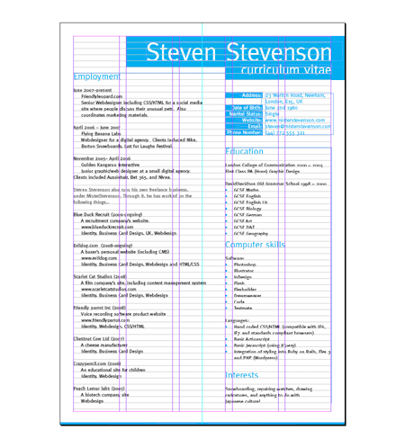 creating a resume in indesign