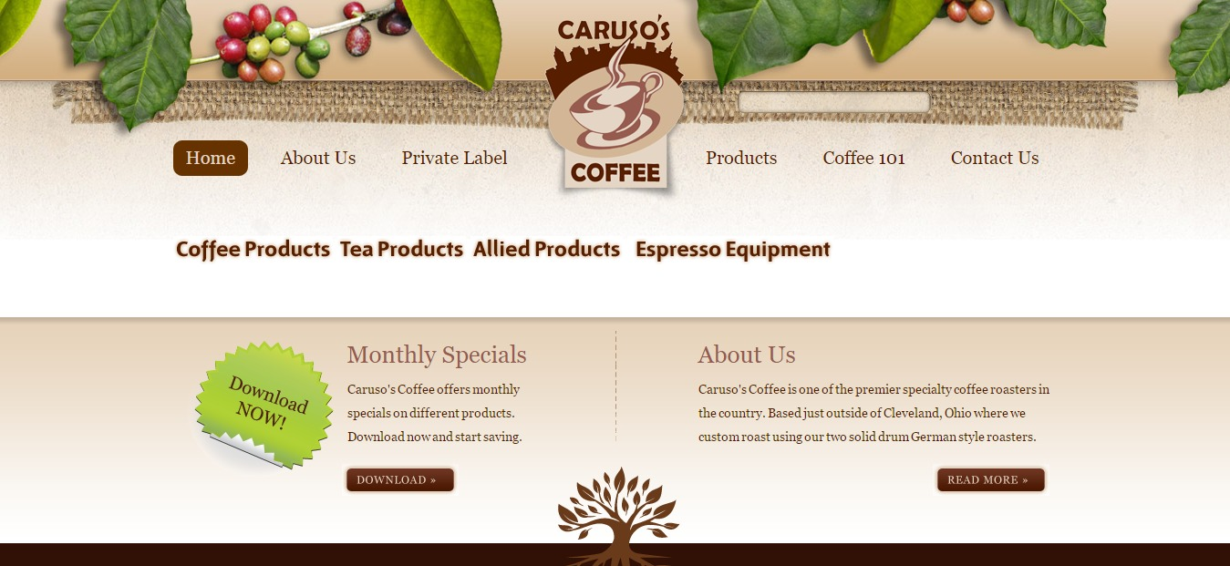 Carusos Coffee Website