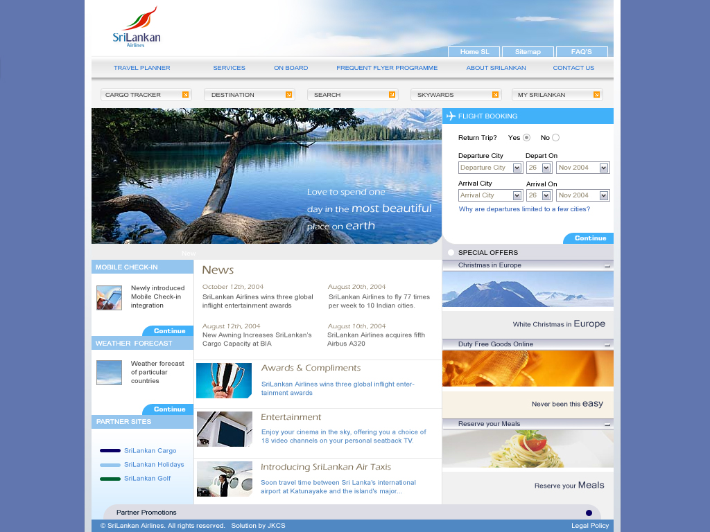 Website for Airline for Inspiration